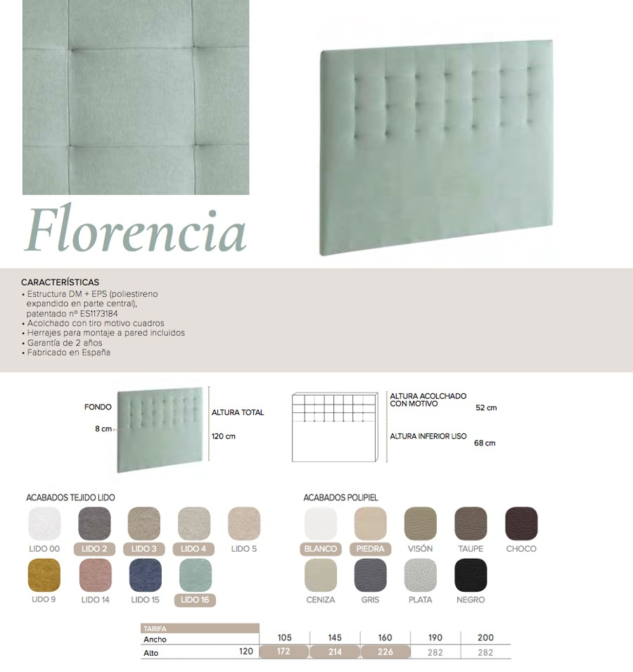 Cabecero modelo FLORENCIA - Ref. 0023