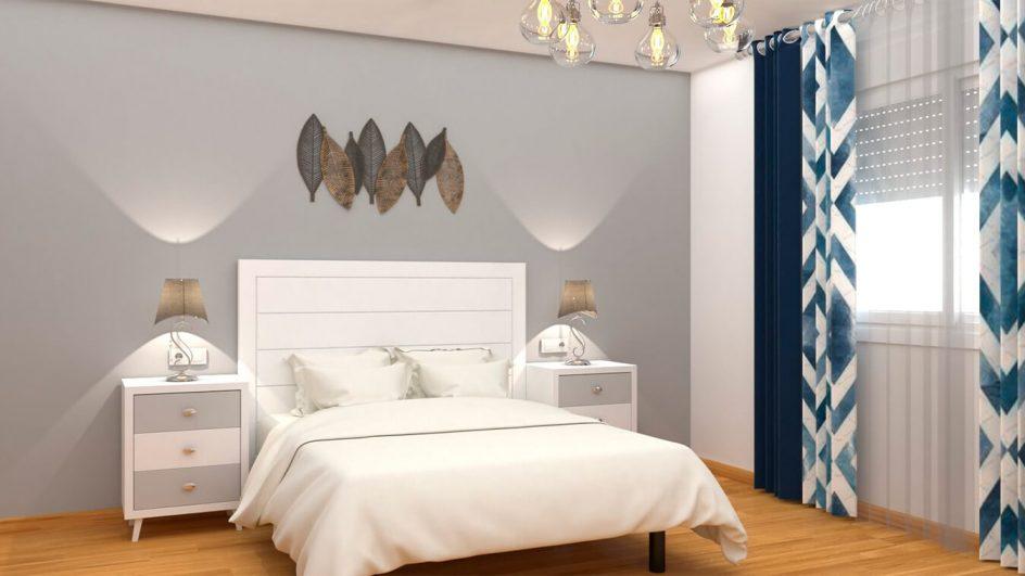 Dormitorio Alvason Blanco con Gris Claro Ref.0002