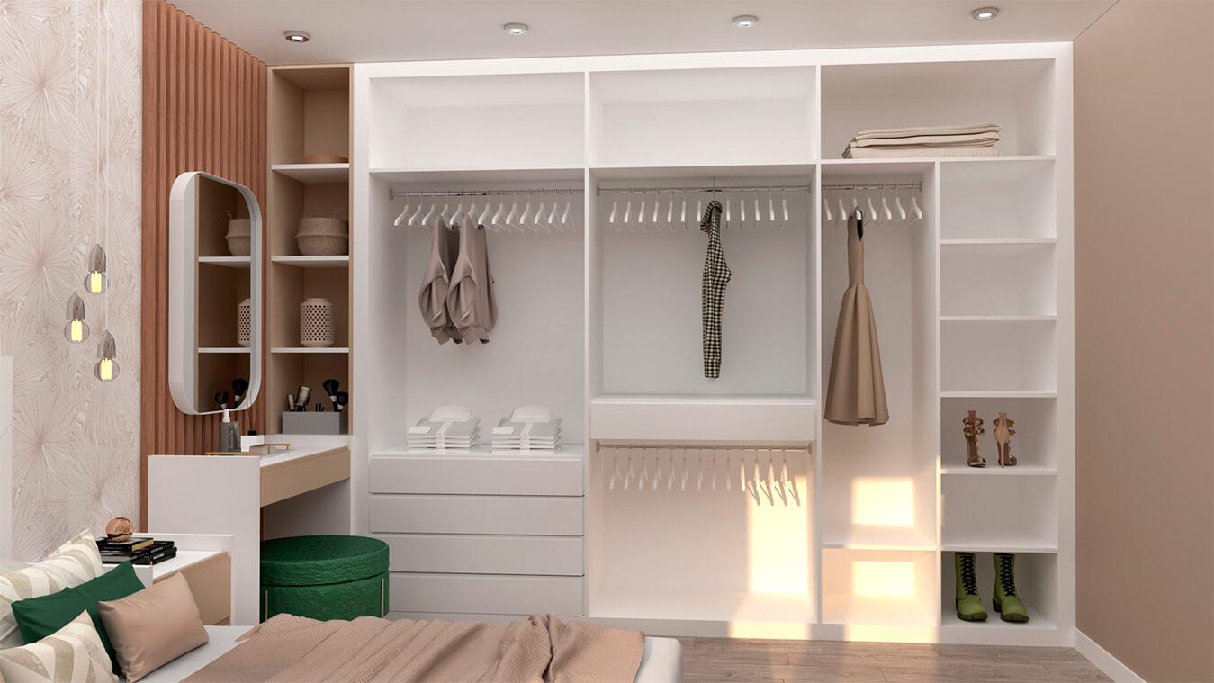 Armarios y vestidores blanco y visón vista dormitorio
