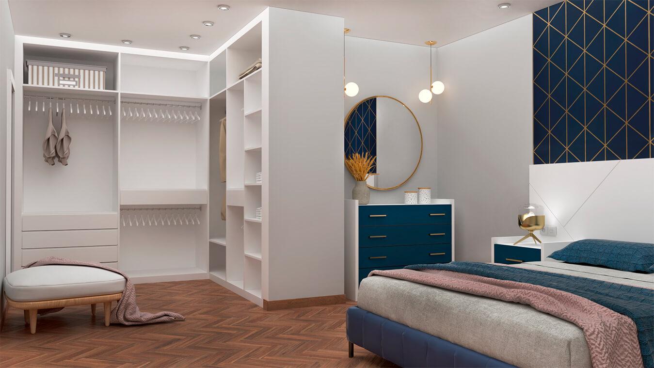 Armarios y vestidores blanco abierto vista dormitorio