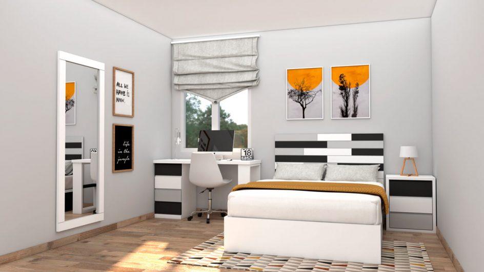 dormitorio moderno blanco, negro y gris