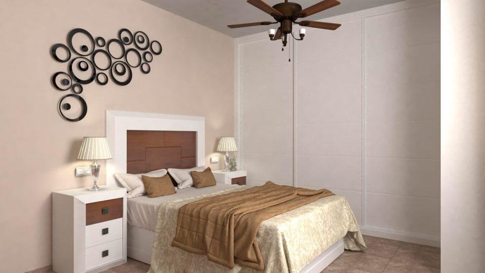Dormitorio modelo BRUNO Blanco con Nogal RG - Ref. 0014