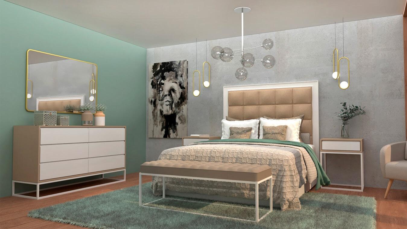 Dormitorio modelo INDUSTRIAL BLANCO Y VISON - Ref. 0007