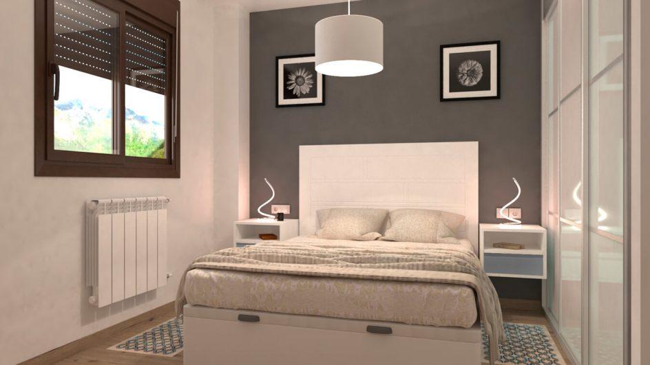dormitorio con cabecero blanco