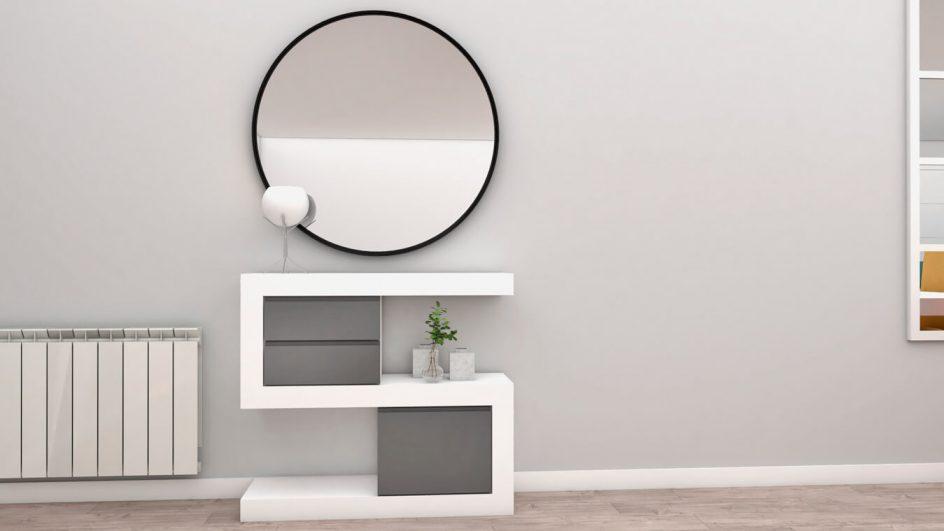 Entrada ESE en blanco y gris medio con espejo redondo decorativo