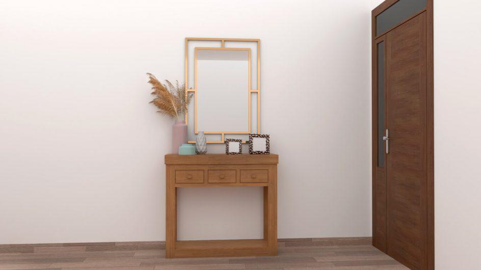 Entrada GAL en color roble con espejo decorativo