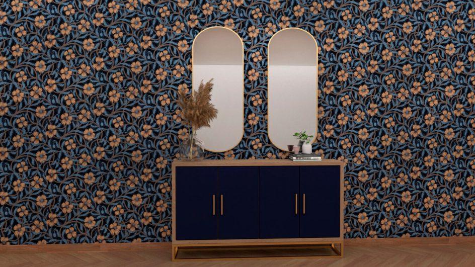 entrada de diseño color azul oscuro