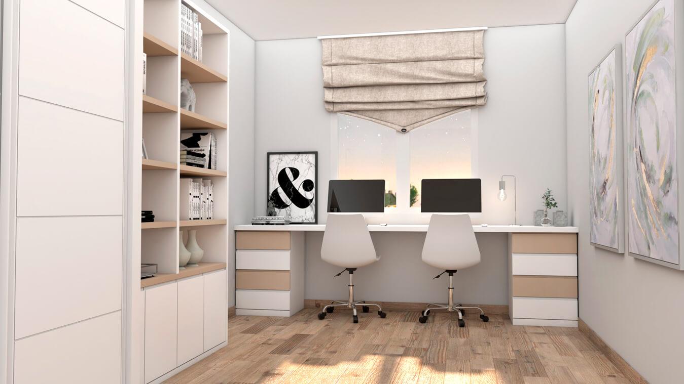 habitacion con muebles de diseño en color blanco