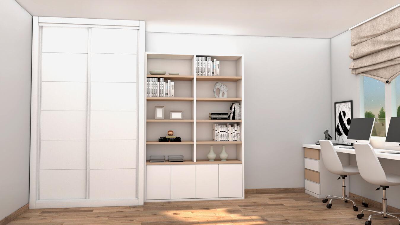 muebles de escritorio y armario con puerta corredera