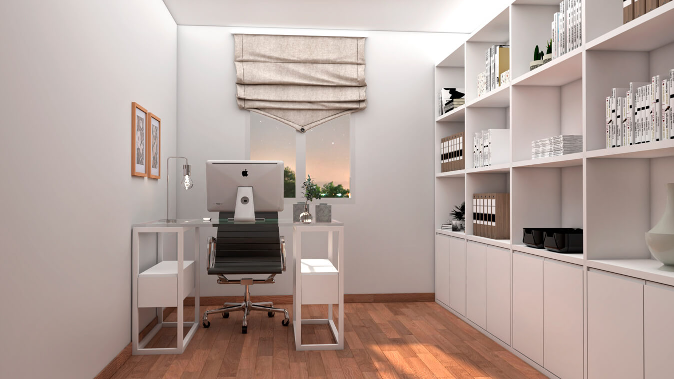 despacho con mesa de ordenador y mueble