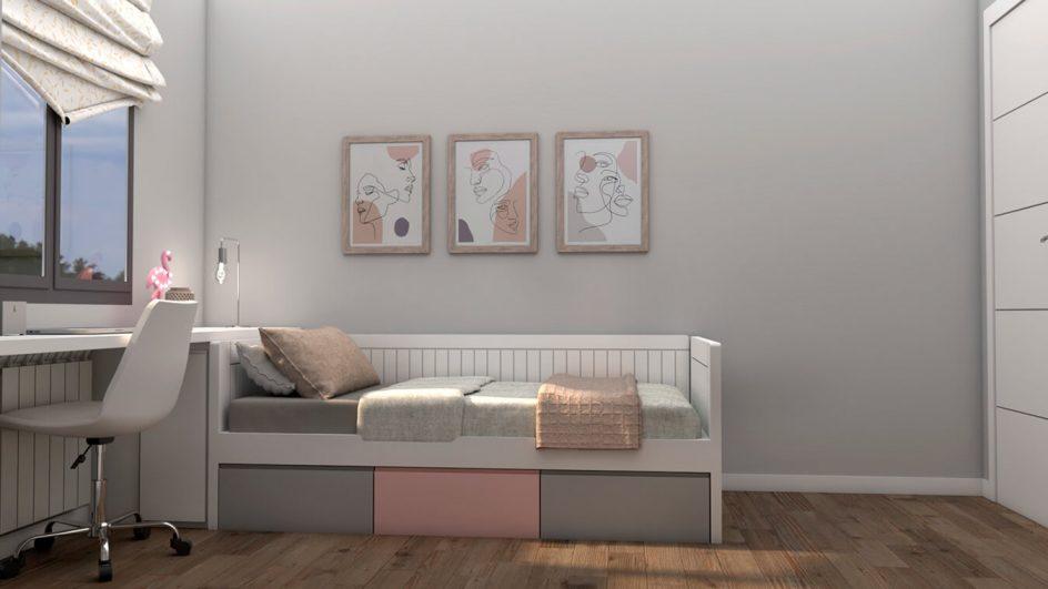 Dormitorio Juvenil CAMA NIDO - Ref: 0490