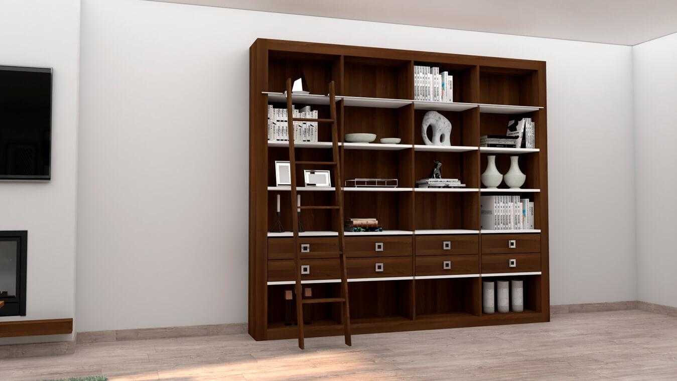 mueble libreria en madera color wengue