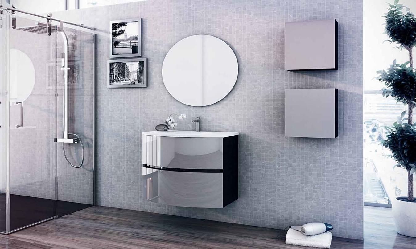 Mueble de Baño LACADO NEGRO BRILLO - PLATA BRILLO - Ref. 0011