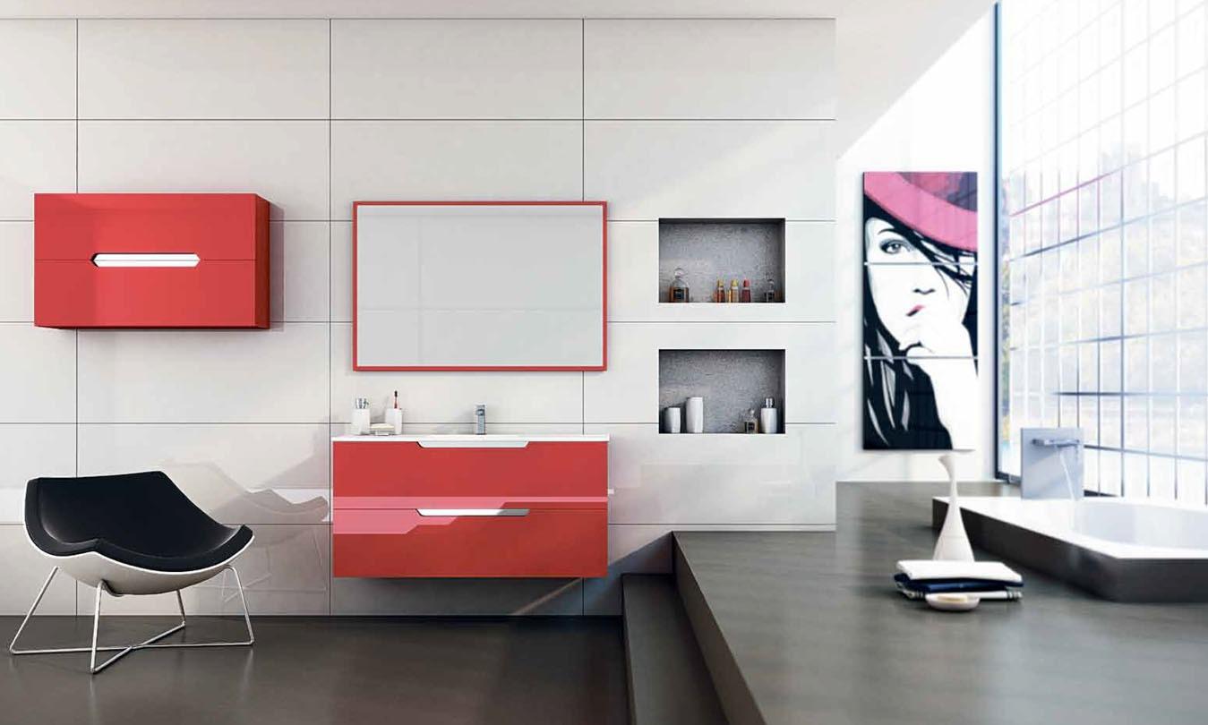 Mueble de Baño LACADO ROJO BRILLO - Ref. 0014