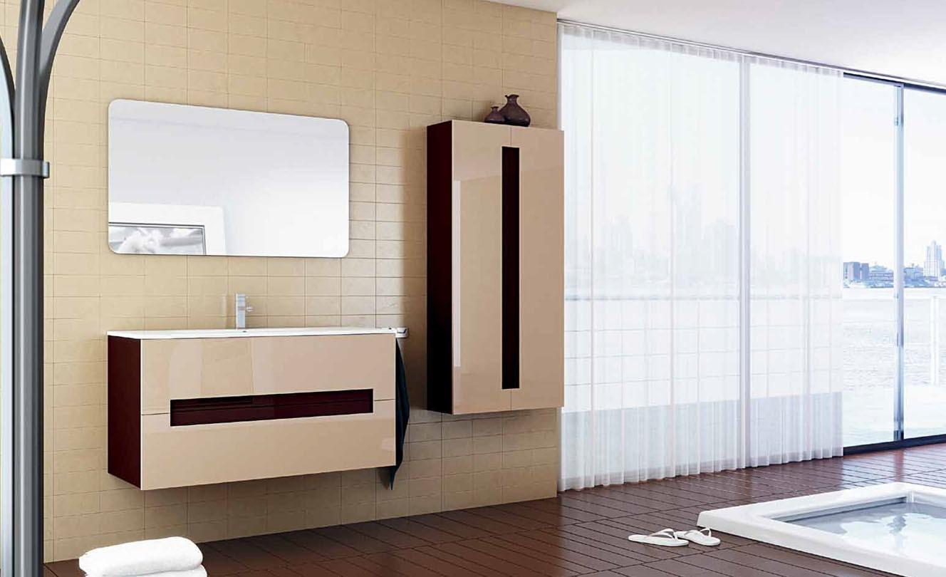 Mueble de Baño LACADO CHAMPAN BRILLO - LACADO CHOCOLATE BRILLO - Ref. 0020