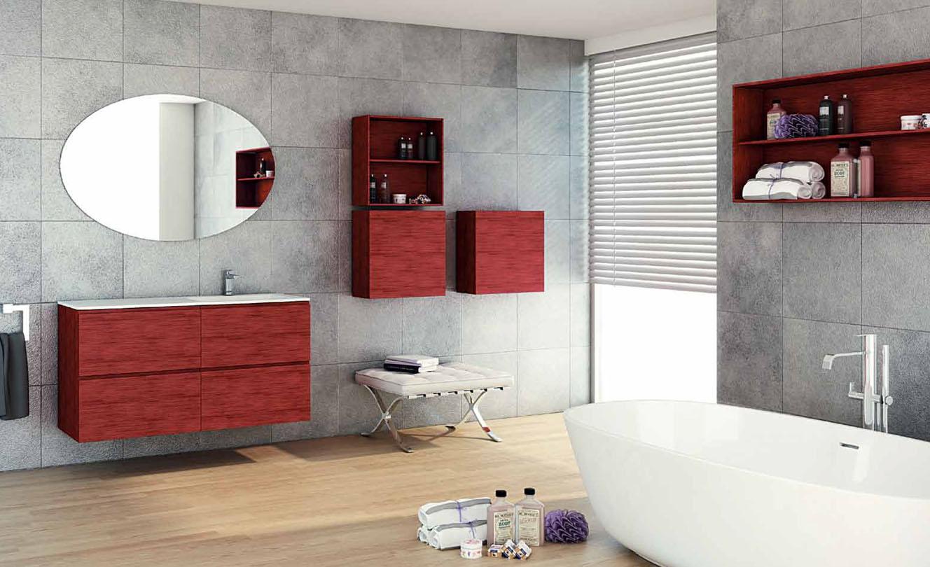 Mueble de Baño MADERA ROBLE ROJO - Ref. 0026