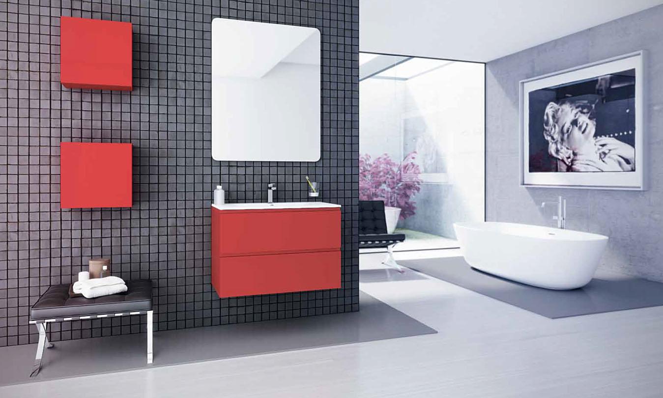 Mueble de Baño LACADO ROJO BRILLO - Ref. 0035
