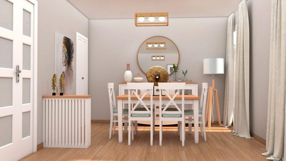 mesa de salon con sillas en blanco