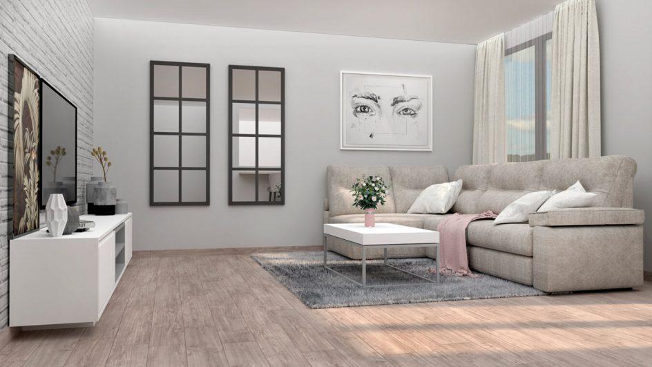 salon moderno con sofas