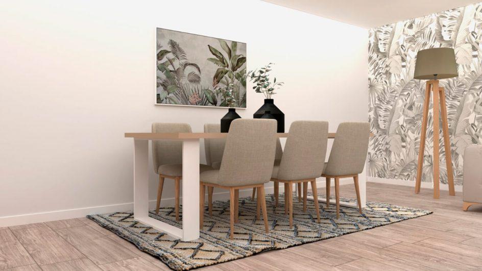 mesa de salon con sillas