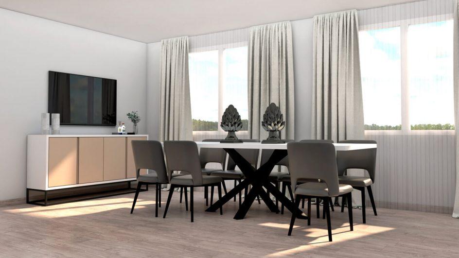 salon estilo moderno con mesa y sillas
